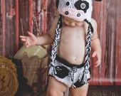 Lil' Cow Crocheted Earflap Hat and diaper cover set- Made to Order- Any Size