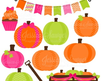 INSTANT DOWNLOAD, girls pumpkin patch party clipart, for scrapbooking, cards, invites,  announcements