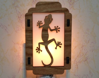 Gecko Night Light with Flower Sides