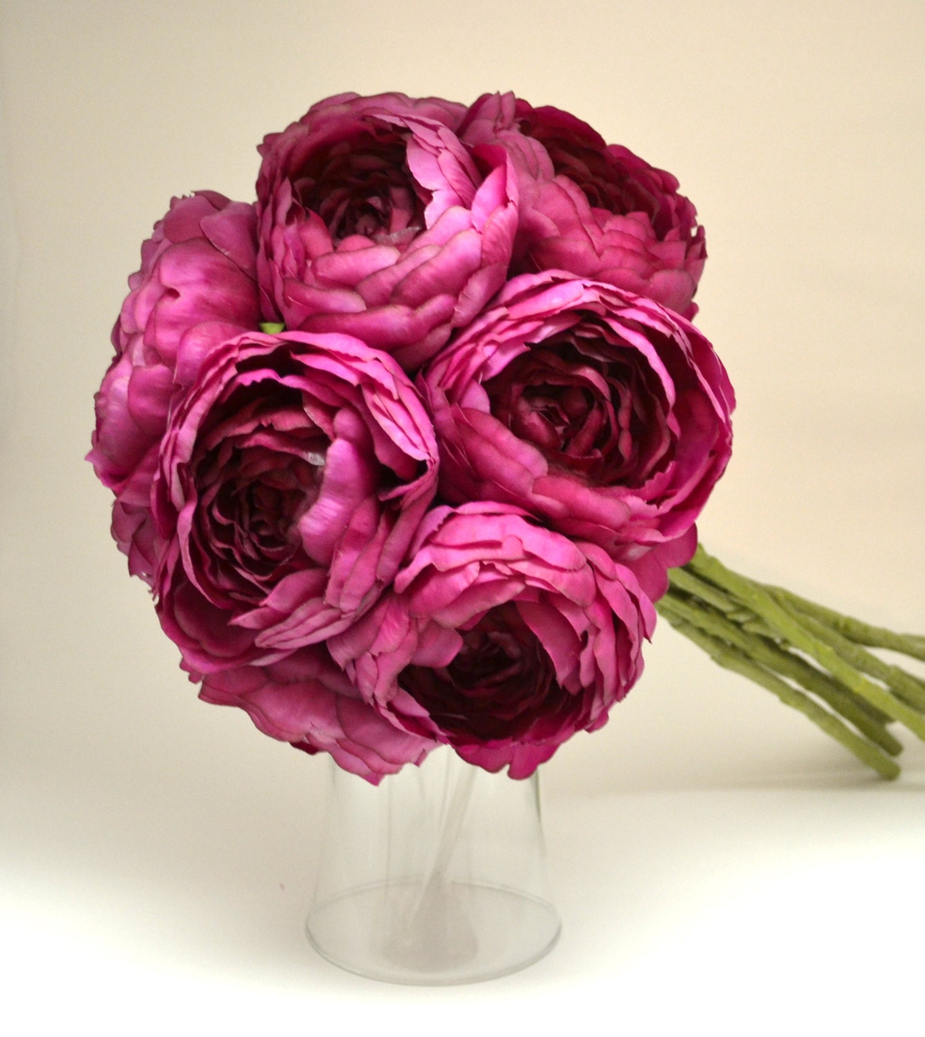 Dark Pink Wedding Flowers: Ranunculus Bouquet Bridal Bouquet Dark Pink Fuchsia Pink