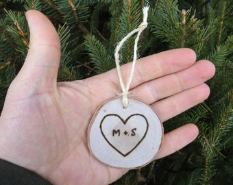 Simple Love Themed Hand-Burned Wooden Ornament