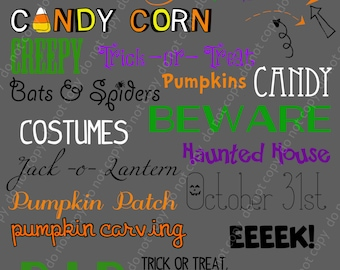 27 Halloween Word Art Pings and Photoshop Brushes Set /Chalkboard/ Chalk/ Overlays / Clip Art / Digital Stamps / Digital Scrapbooking