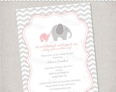 Elephant Baby Shower Invitation  - Printable Digital File or Printed Invitations with Envelopes - FREE SHIPPING