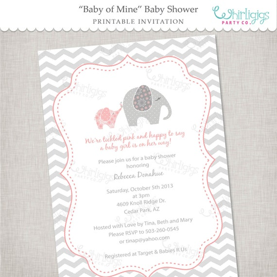 Elephant Baby Shower Invitation Printable Digital File or