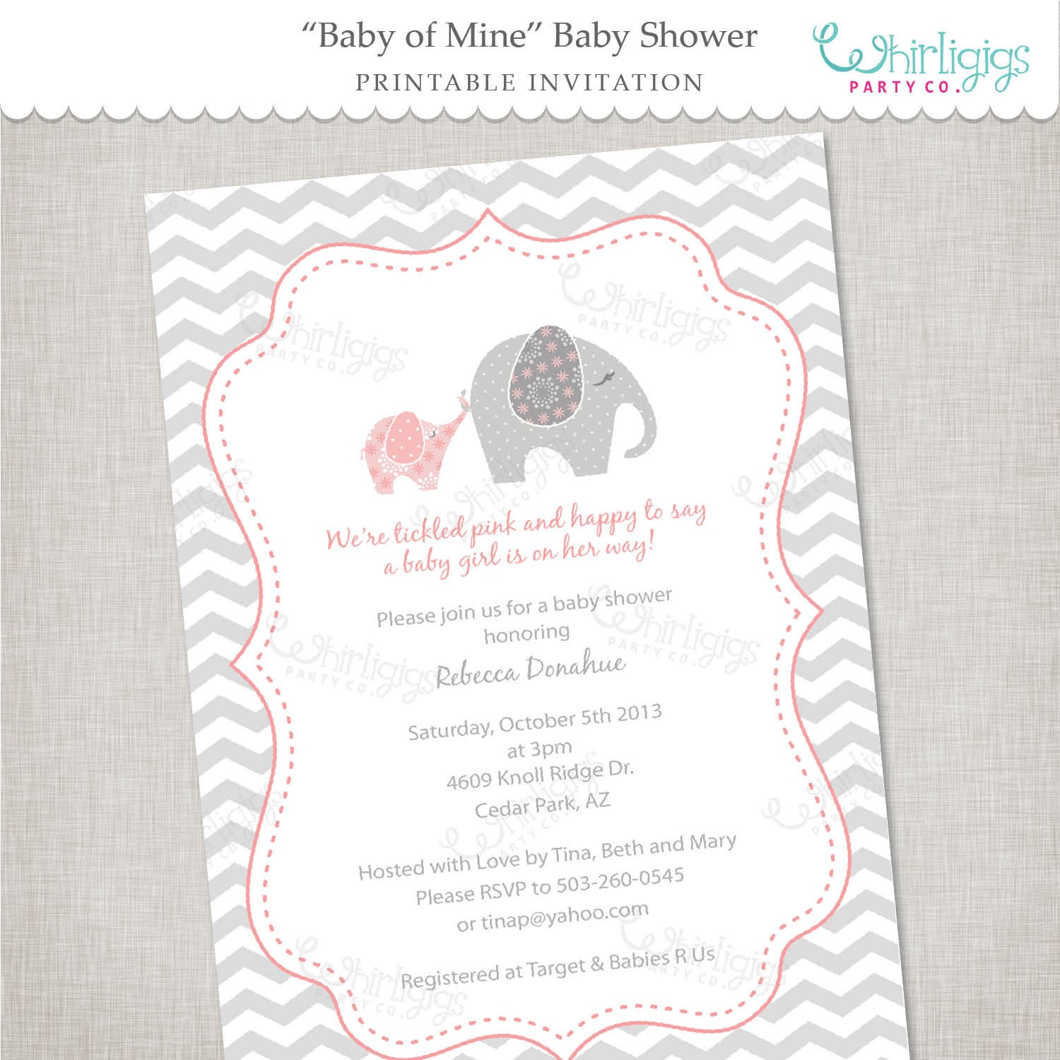Superb image regarding printable elephant baby shower invitations