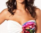Bikini, Floral Swimsuit, Jersey Bikini Top, Spandex Bandeau, Woman Bikini Top