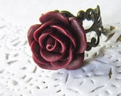 Burgundy Flower Cameo Ring - Filigree Red Rose Cabochon
