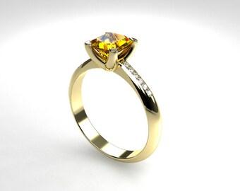 1.29ct Yellow sapphire ring, diamond ring, white gold, yellow gold, sapphire engagement, emerald cut, yellow sapphire solitaire, wedding