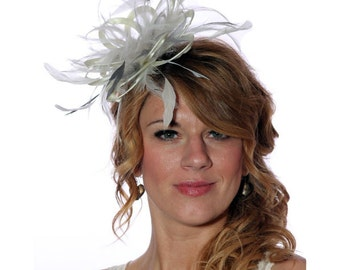 Cream and Metalic Silver Feather Fascinator Hat - wedding, ladies day - choose any colour feathers and satin
