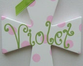 Hand painted personalized small childs wall cross baptism gift godchild christening pink green painted kids cross