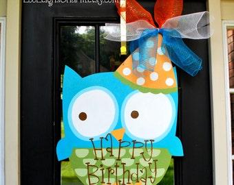 Birthday Door Hanger: Owl, Birthday Door Decoration, Owl Party Decoration, Classroom sign