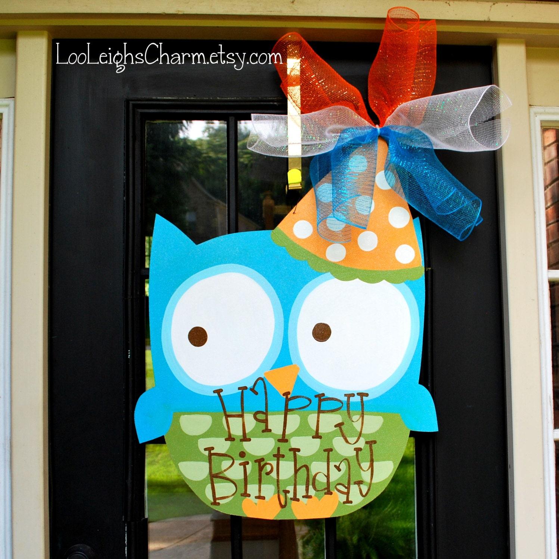 Birthday Door Hanger: Owl Birthday Door Decoration Owl Party