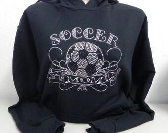 Soccer Mom Rhinestone Sweat Shirt Hoodie