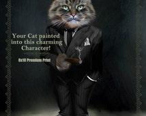 Personalized Pet Portrait. Custom Pet Portrait. Dog Portrait. Cat Portrait. For Pet Lovers. Pet character portrait, pet gift, pet memorial