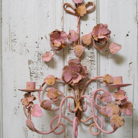 Pink Wall Sconce Candle Holder : Shabby chic pink wall decor candle holder metal tole style