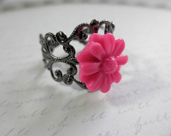 CLEARANCE 50% OFF Vintage Look Gunmetal Filigree and Hot Pink Daisy Adjustable Ring