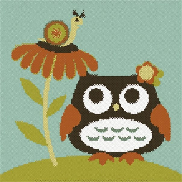Owl snail embroidery picture instant download cross stitch