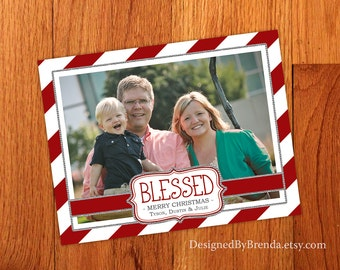 """Candy Cane Holiday Christmas Card or Postcard with Photo - 'BLESSED"""" - Red & White Peppermint Stripes - Free Shipping - Printed Bling Border"""