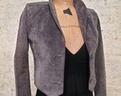 80s Suede and Snakeskin Jacket - Gray - Puff Sleeves - Great Style