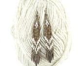 Native American beaded earrings, bohemian earrings, earthy earrings, dangle earrings, tribal earrings, brown and white, Narrow I