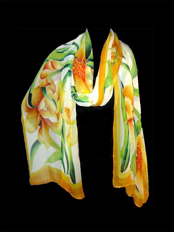 painted daffodils silk scarf