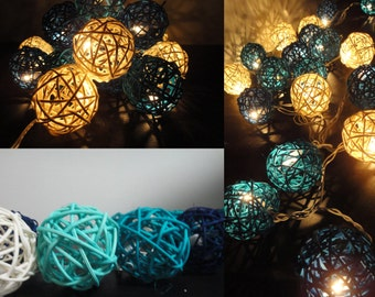 Battery Powered LED Bulbs 20 Mixed Blue Sky Rattan Balls Fairy String Lights Party Party Patio Wedding Floor Hanging Gift Home Decor