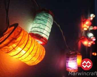 20,35 Japanese Zen Multi Color Lantern Fairy String Lights Party Patio Wedding Floor Table or Hanging Gift Home Decor Living Bedroom Holiday