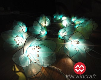 Battery or Plug 20 Blue Rain Lilly Flower Fairy String Lights Floral Party Patio Wedding Garland Gift Home Living Bedroom Holiday Decor 3.5