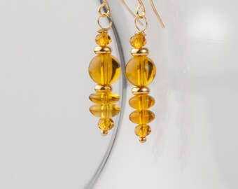Honey Drip Gold and Glass Dangle Earrings