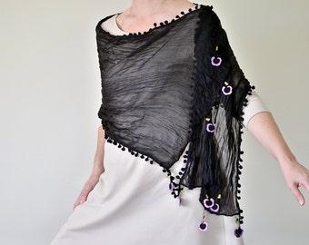 Black Pompom Scarf, Violets Scarf, Purple Crochet Violets, Crochet Scarf, Beaded Cotton Scarf, Flower Foulard, Women Wrap Scarf, ReddApple