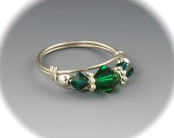May Emerald Birthstone Ring, Emerald Swarovski Crystal Ring, May Birthstone Ring, Sterling Silver or 14KT Gold Filled Ring
