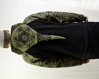 30% Off SALE!  Men's Sacred Geometry Hoodie,- Metatrons Cube and Flower of Life print -Army Green