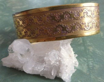 1970's Wide Embossed Brass Cuff