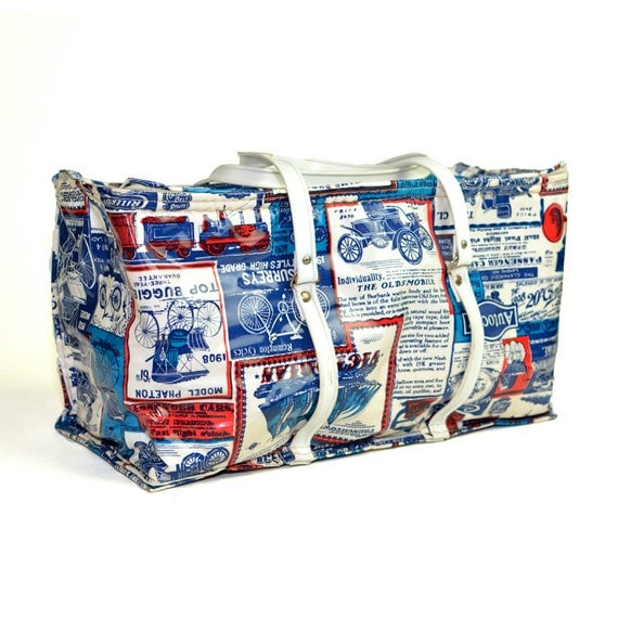 Bicycle Print Cooler Tote Travel Bag Thermo Keep By