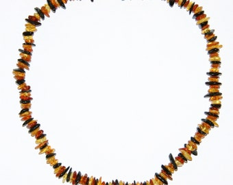 Adult Baltic amber necklace, multi color mixed shape beads 64