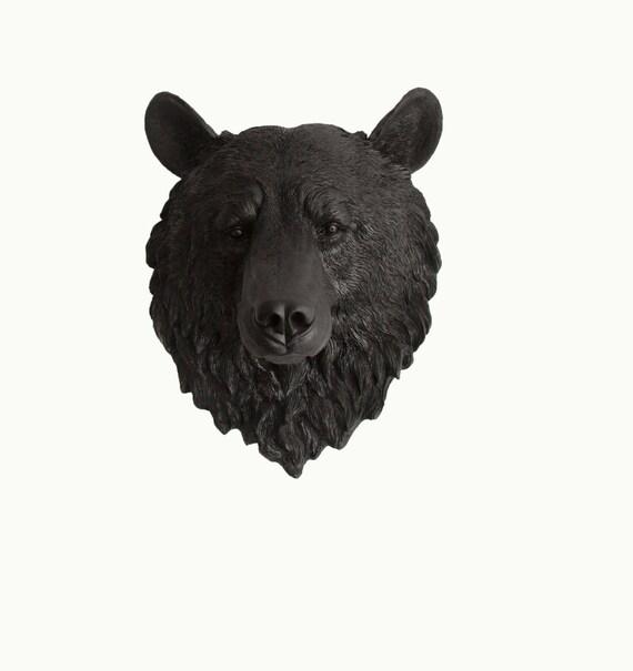The Nordi - Black Resin Bear Head- Resin Black Faux Taxidermy- Chic & Trendy