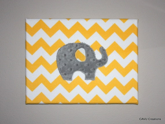 Gray and yellow chevron elephant fabric nursery wall art for Yellow nursery fabric