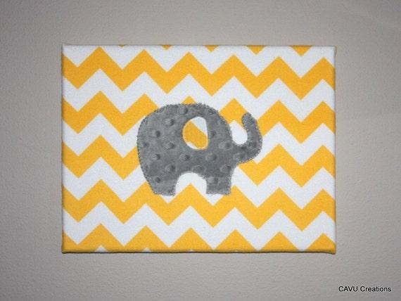 Gray and yellow chevron elephant fabric nursery wall art for Yellow nursery fabric
