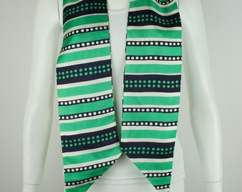 Vintage 1960's Geometric Navy and Green Scarf