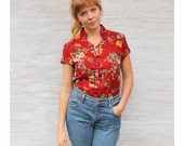 Asian Inspired Red Floral Linen Shirt