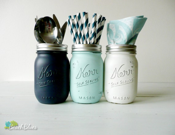 Beach Decor / nautical home decor / summer decor / mason jars / pencil holder / storage / dorm decor / office decor/ set of 3