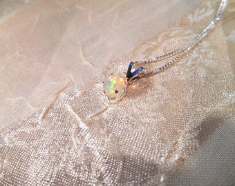 """Beautiful White Opal Necklace in Sterling Silver on 18"""" Chain"""