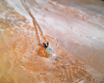 Ethiopian Opal Necklace High Quality in Sterling Silver