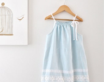 Toddler Girls Linen Dress- Aqua Blue-Summer Tunic-Beach Photo-Special Occasion-Beach Wedding--Handmade Children Clothing by Chasing Mini