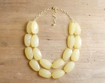 Yellow Statement Necklace, Chunky Beaded Necklace, Double Strand Yellow Bib Necklace, Yellow Bridesmaid Necklace
