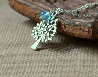 Tree of Life Boho Silver Pendant Light Blue Bead Necklace Bohemian Nature Fashion Jewelry Jewellery Minimalist Detailed Leaves Free Shipping