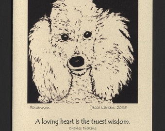 Card. Dogs. Rhiannon, poodle block print by Jesse Larsen on quality blank card w/Charles Dickens quote. Free US shipping. Soulful. Smart.