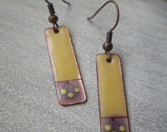 yellow and purple enamel earrings with some berries