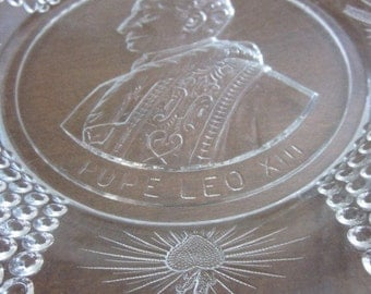 Antique Bryce Higbee & Co Pope Leo XIII Commemorative Bread Plate 4 Cartouches