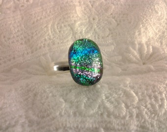 Dichroic Glass Ring, Sterling Silver Fused Glass Ring, Adjustable Ring, Green Blue Dichroic Jewelry